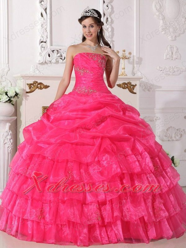 Hot Pink Ball Gown Strapless Floor-length Organza Appliques ...