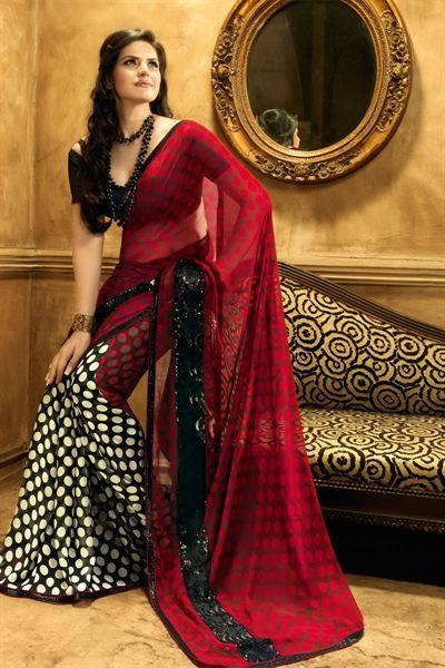 1d3670f8ec black + white + red + polka dots = :) | need shopping spree | Saree ...