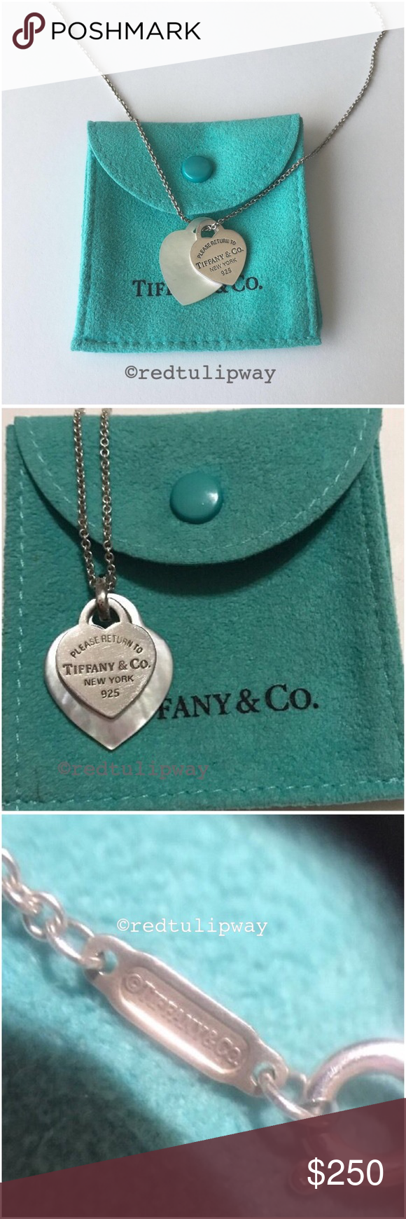 d6ecac9ce Auth. Tiffany & Co. Pearl Double Heart Pendant Guaranteed authentic, SUPER  RARE Tiffany & Co. mother of pearl and sterling silver double heart pendant.