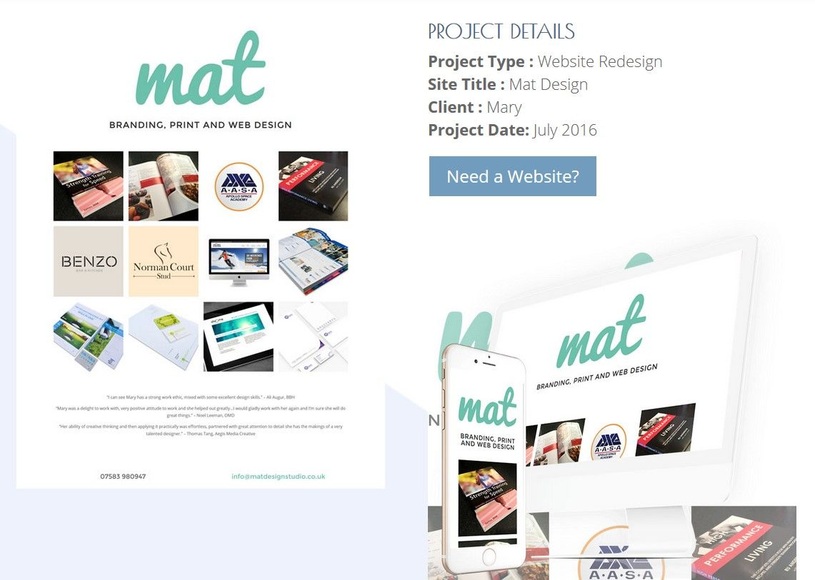 The New 1 page business card website for Mat Design in Southampton ...