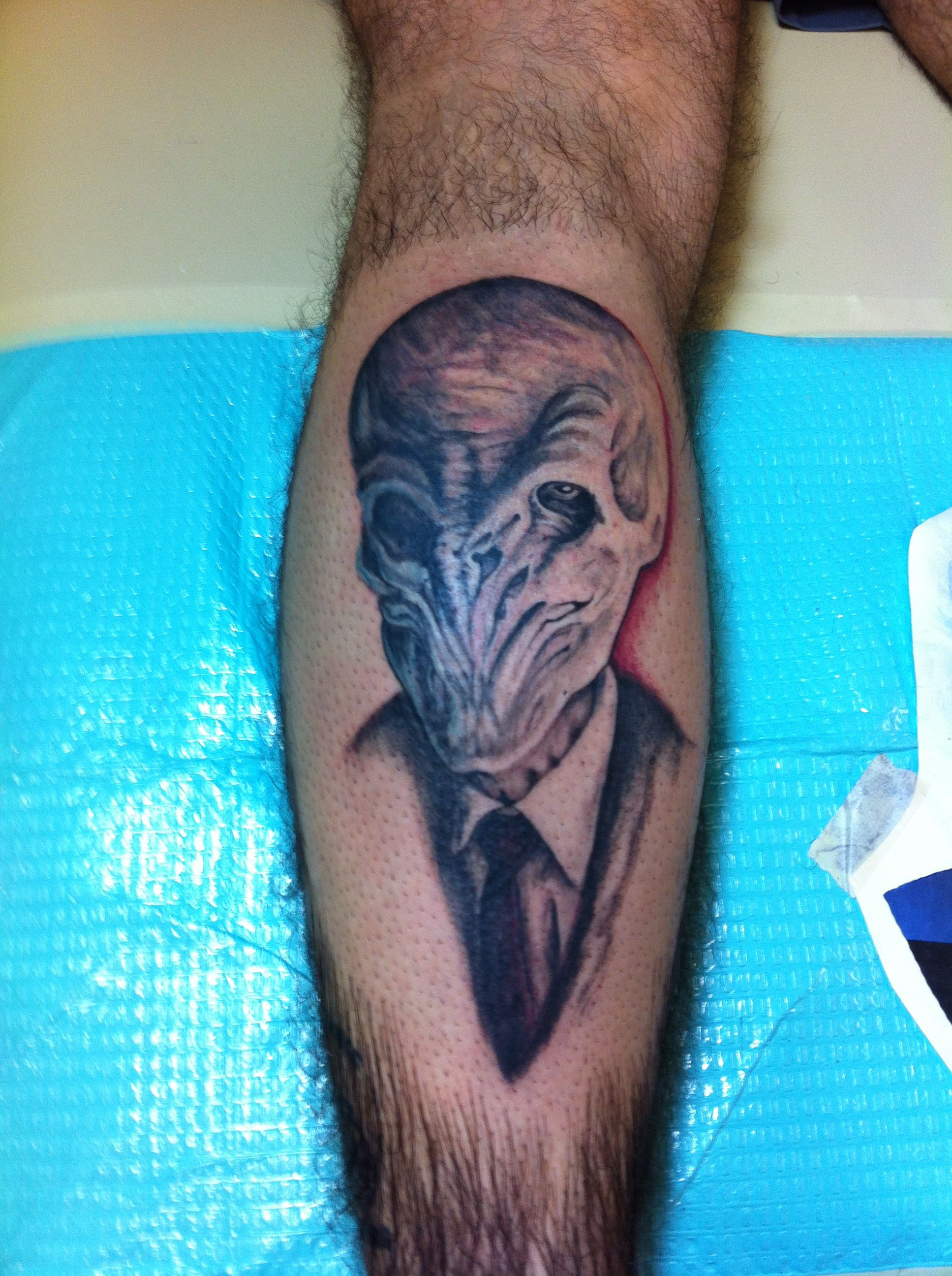c17d37f932e69 The Silence Dr. Who Tattoo by Michelle Carter at 1001 Troubles Tattoo Studio
