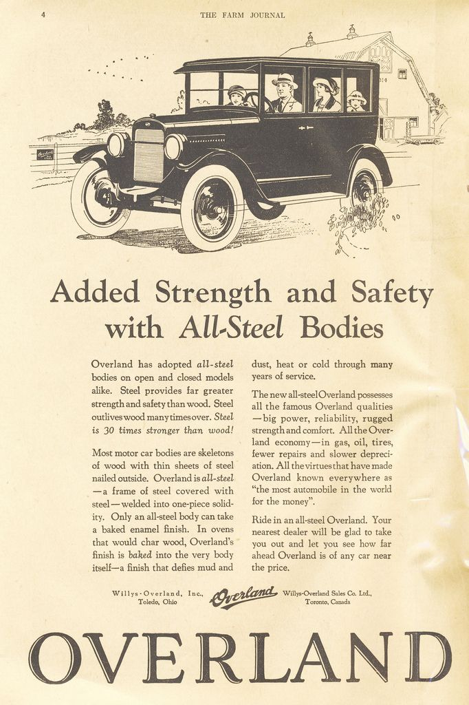 1924 Willys Overland Advertisement From October 1924 Farm Journal