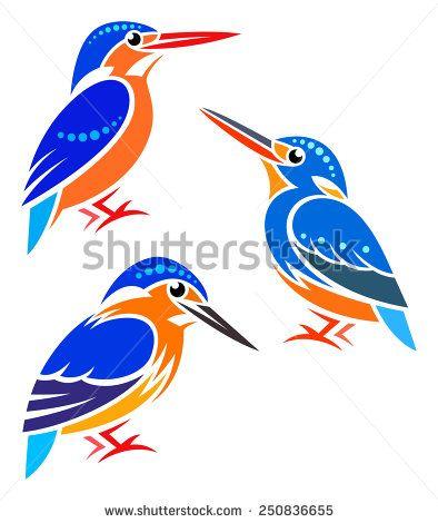 Stylized Birds - Blue-eared Kingfisher, Indigo-banded Kingfisher, Malagasy Kingfisher