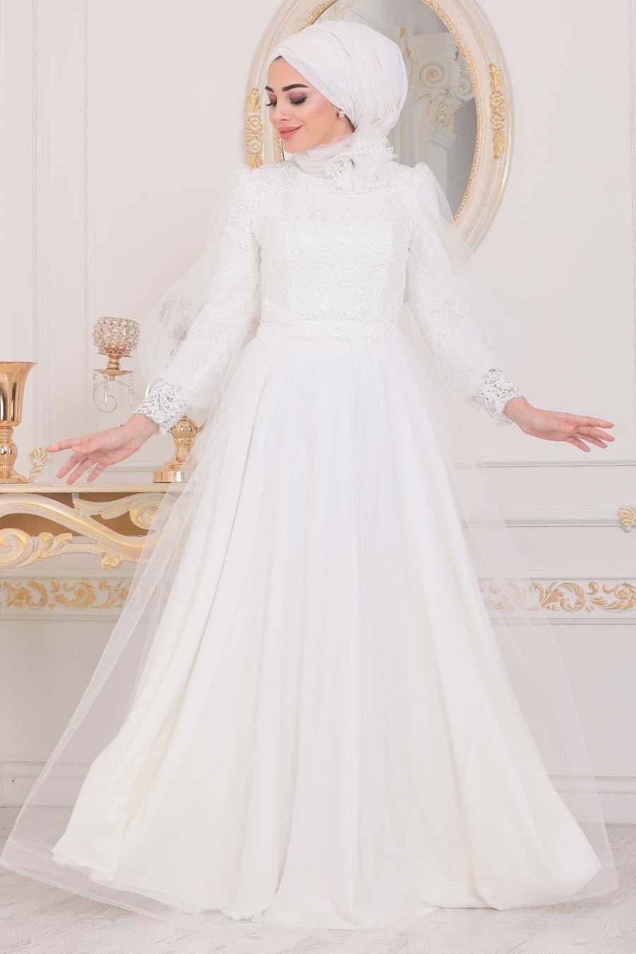 Tesetturlu Abiye Elbise Dantel Islemeli Beyaz Tesettur Abiye Elbise 40403b Tesetturisland Com 2020 Elbise The Dress Moda Stilleri