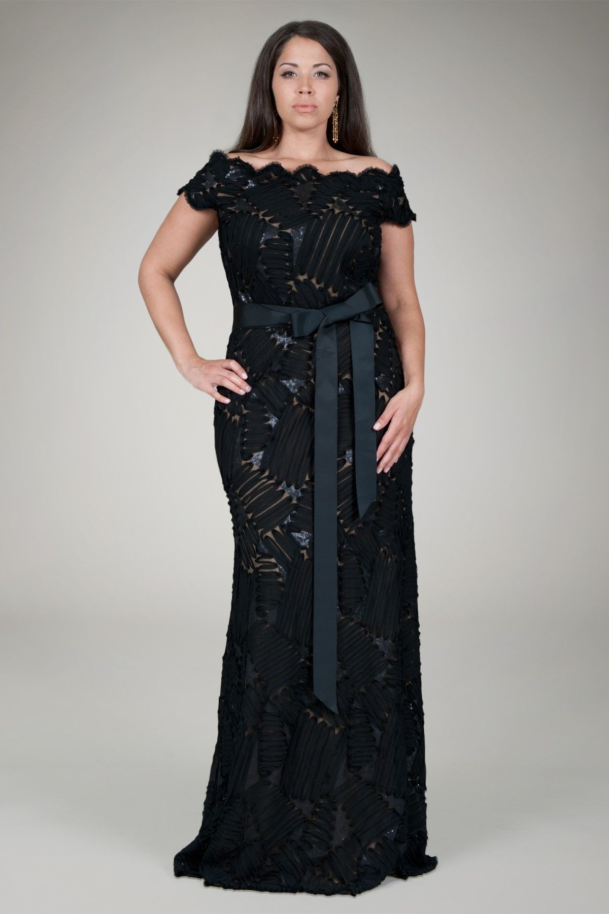 Embroidered Mini Paillette Gown in Black Nude Plus Size Evening