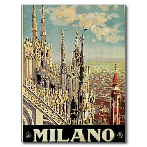 VINTAGE MILANO MILAN ITALY TRAVEL A4 POSTER PRINT