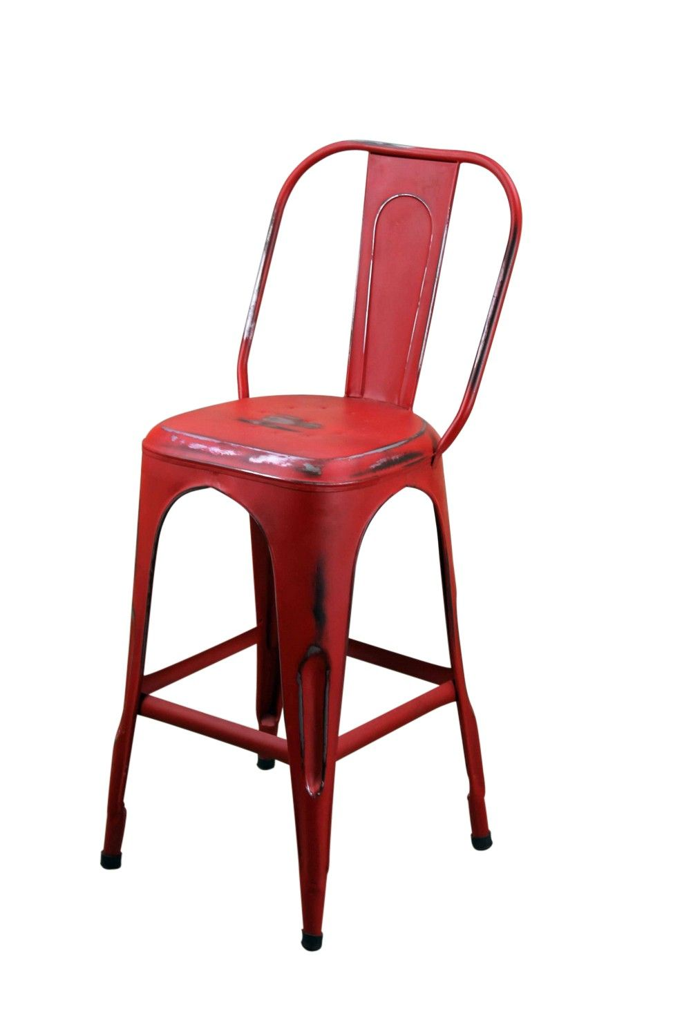 Red Metal Cafe Bar Stool