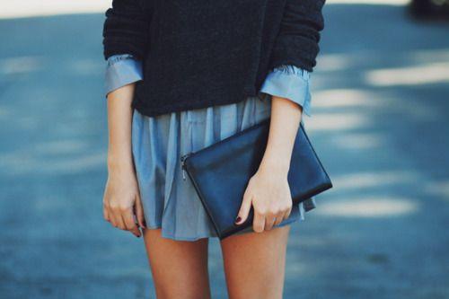 shirt dress under a sweater, love.