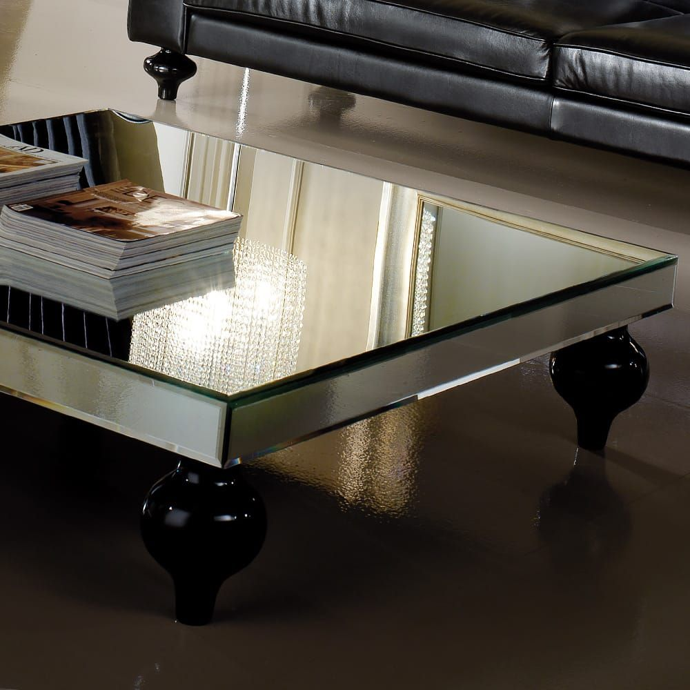 Designer Square Mirrored Coffee Table Mirrored Coffee Tables