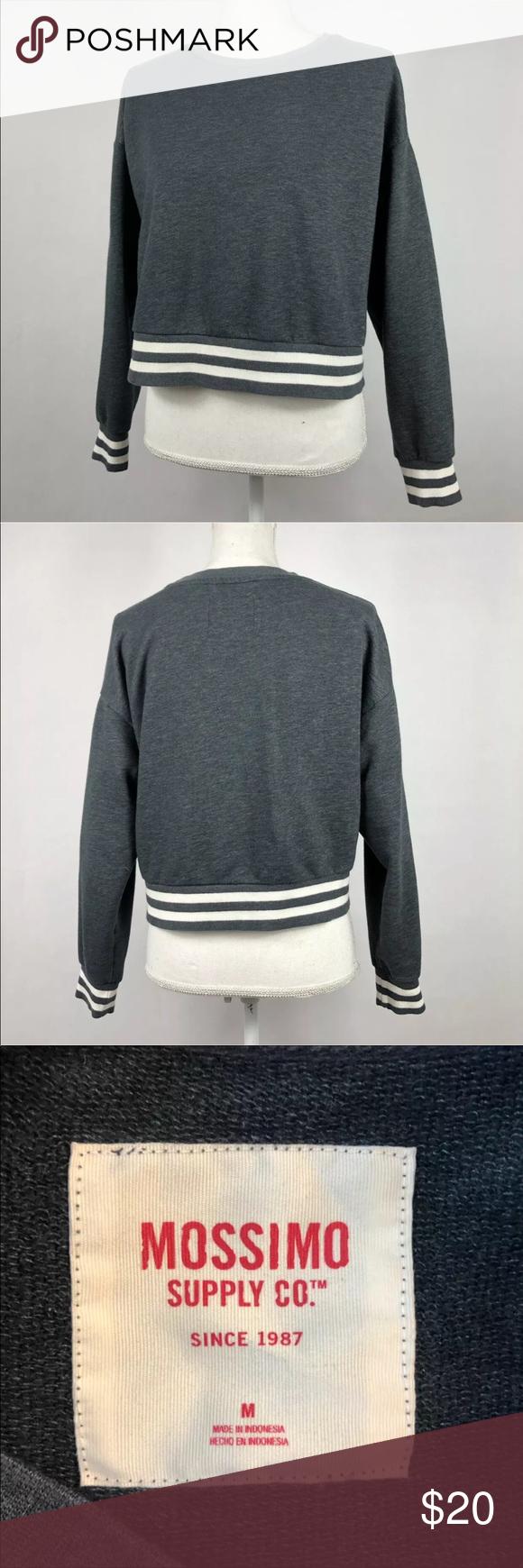 Mossimo Crewneck Sweatshirt Gray White Stripe Crop Crew Neck Sweatshirt Grey Sweatshirt Sweatshirts [ 1740 x 580 Pixel ]