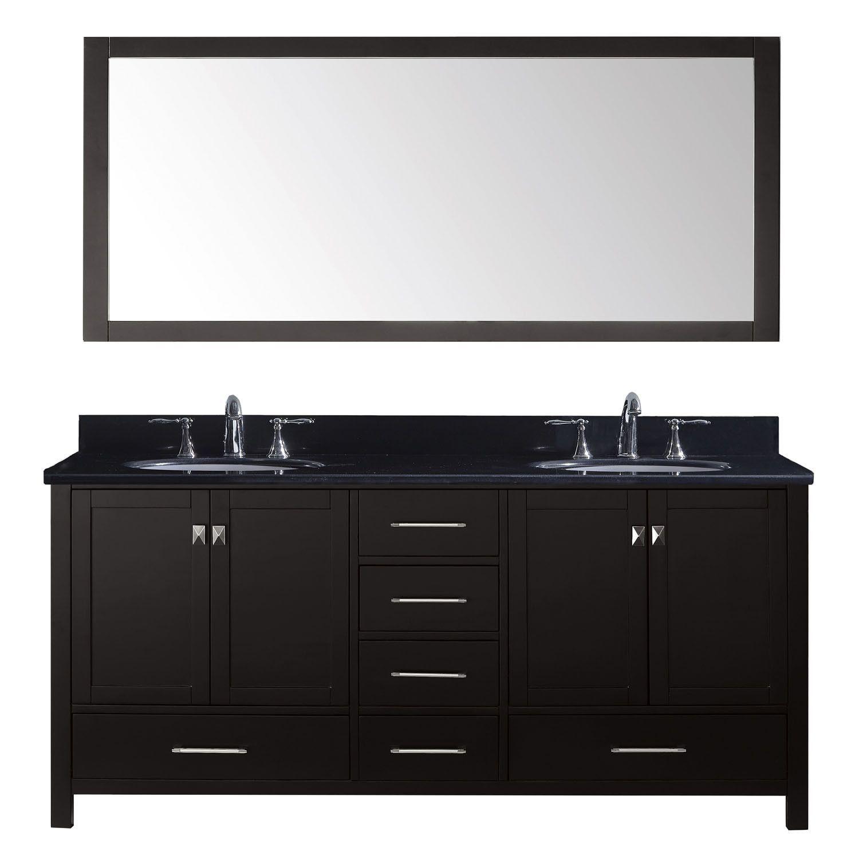 "Virtu USA Caroline Avenue 72"" Double Round Sink Espresso Top Vanity"