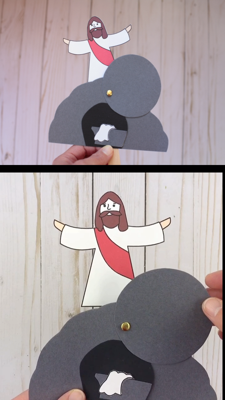 He is Risen! Easter religious craft for kids for Sunday School. Jesus has Risen craft.