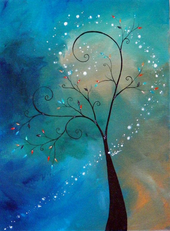 ORIGINAL Dance With Fireflies Acrylic On Canvas Painting Idea Use Beads For Leaves And Rhinestones Or White