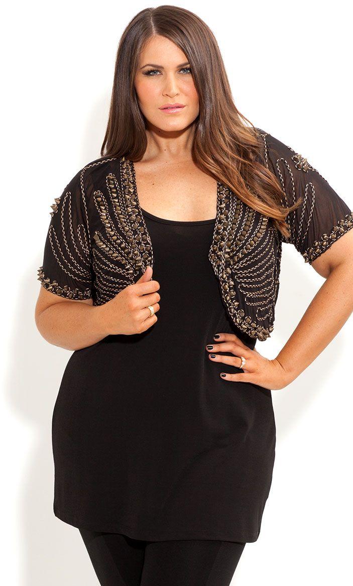 City Chic - STUD SISTER JACKET - Women's plus size fashion