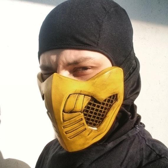 Scorpion Cosplay Half Face Mask from Mortal Kombat X 11 ...