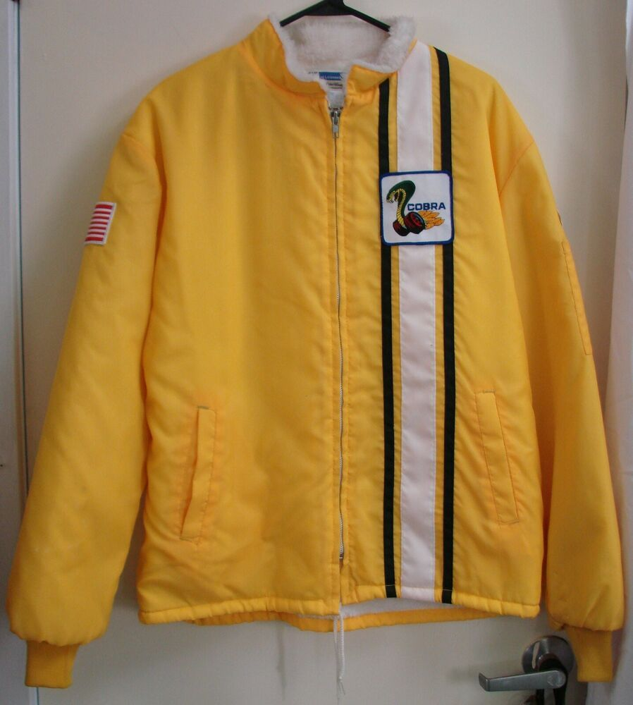Vintage Ford Motor Co Cobra Shelby Racing Jacket Yellow Lined Size Large Hot Rod Ford Racingjacket Vin Jackets Hoodie Jacket Zippers Mens Sweatshirts Hoodie