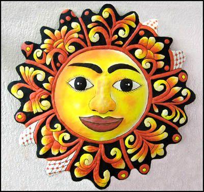 Sun Patio Art - Hand Painted Metal Tropical Wall Hanging - 24 ...