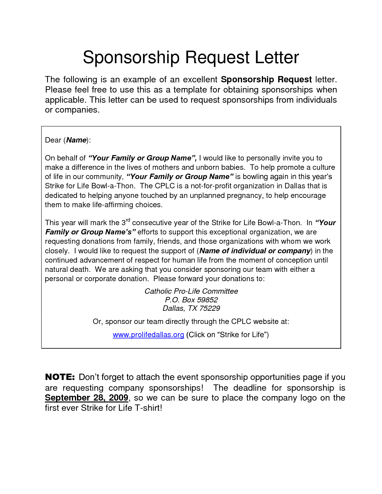 corporate sponsorship request letter charity donation free