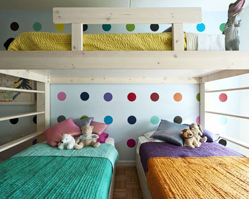 Random But I Really Like This For A Big Family Small House Set Up Bright And Colorful And Everyone Gets Their Own Be Bunk Bed Designs Kid Beds Kids Bunk Beds