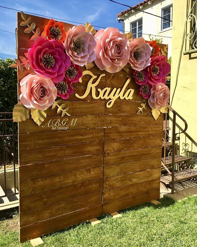 Lovely Paper Flower Backdrop For Special Quinceanos Custom Name Made By Claudias Creati Paper Flower Backdrop Paper Flower Decor Flower Backdrop Wedding