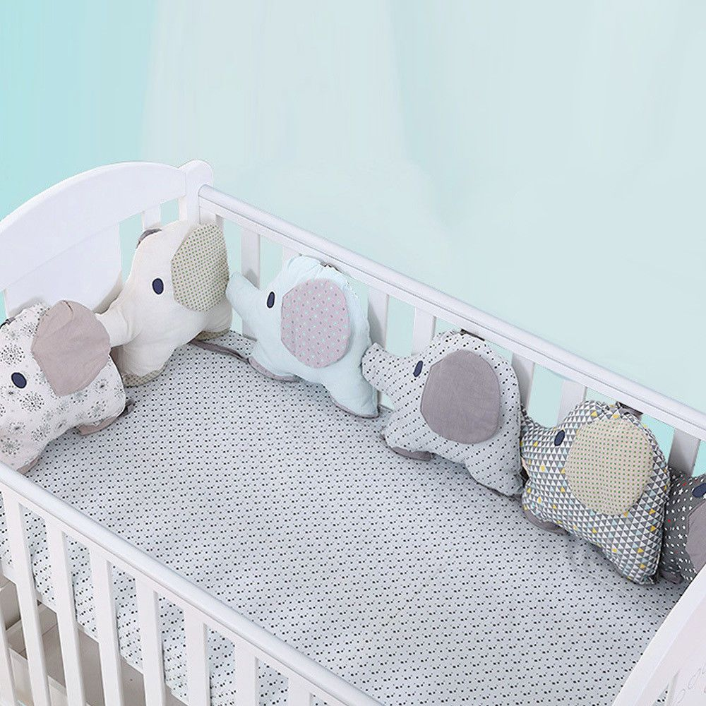 Protective Product 6Pcs//Set Bed Bumper Cartoon Elephant Room Decor Cot Bumper Cradle Protector Back Cushion Toddler Bed Bedding Set