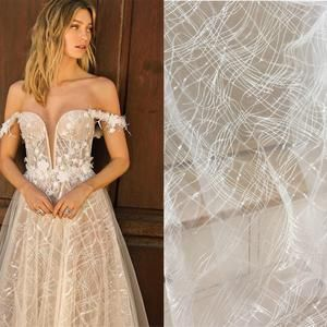 High Quality Sequin Lace Fabric Wedding Dress Fabric Prom Gown Lace Fabric Tulle Embroidery Lace Floral Lace Fabric By the Yard