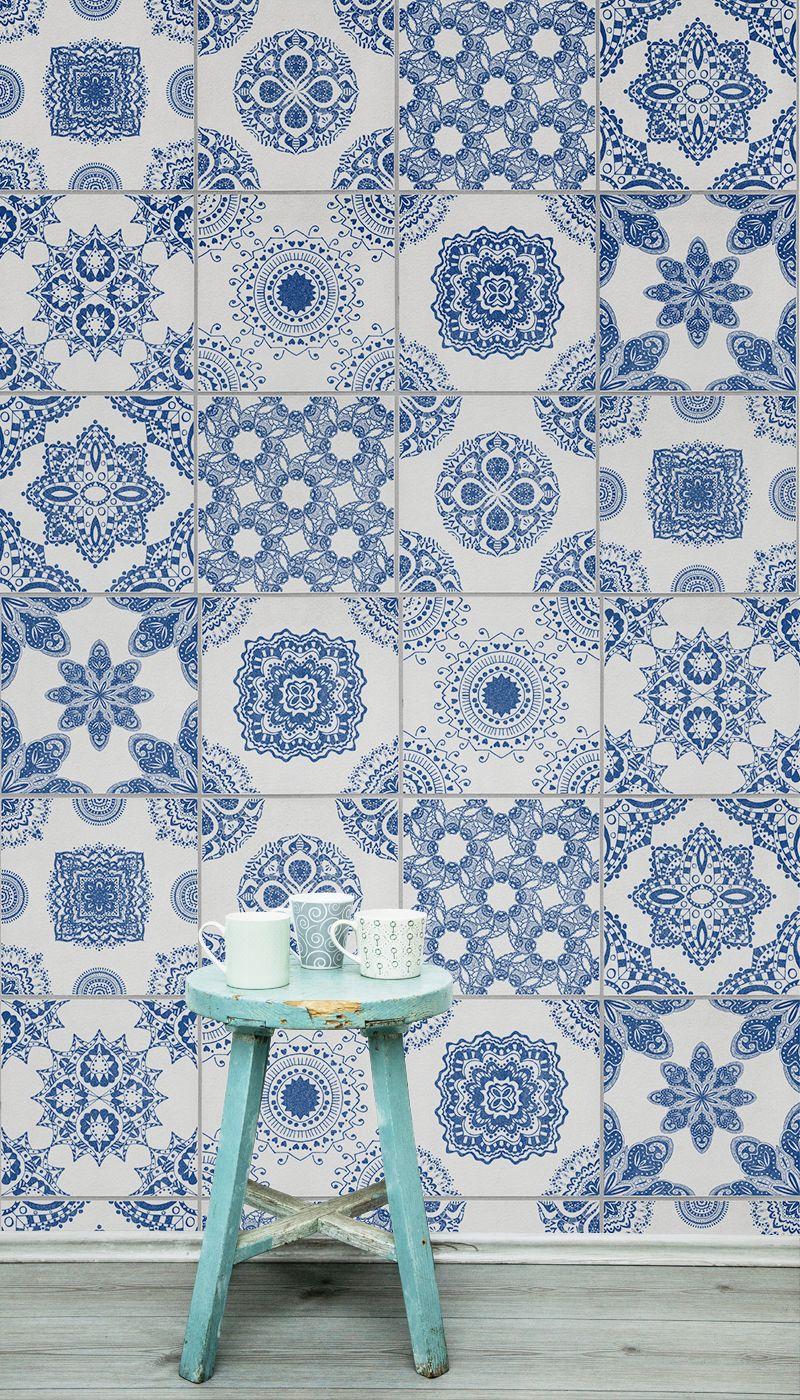White And Blue Portuguese Tiled Wallpaper Blue Amp White