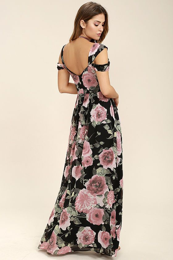 ec896177398 Lulus Exclusive! Romance is on the rise now that the Give Me Amore Black  and Pink Floral Print Maxi Dress is in your life! Pink