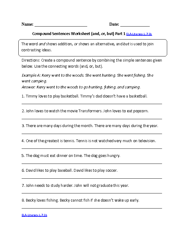 Compound Sentences Worksheet ELA-Literacy.L.7.1b Language ...
