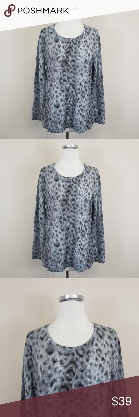 Jones New York Cashmere Leopard Animal Print XL Jones New