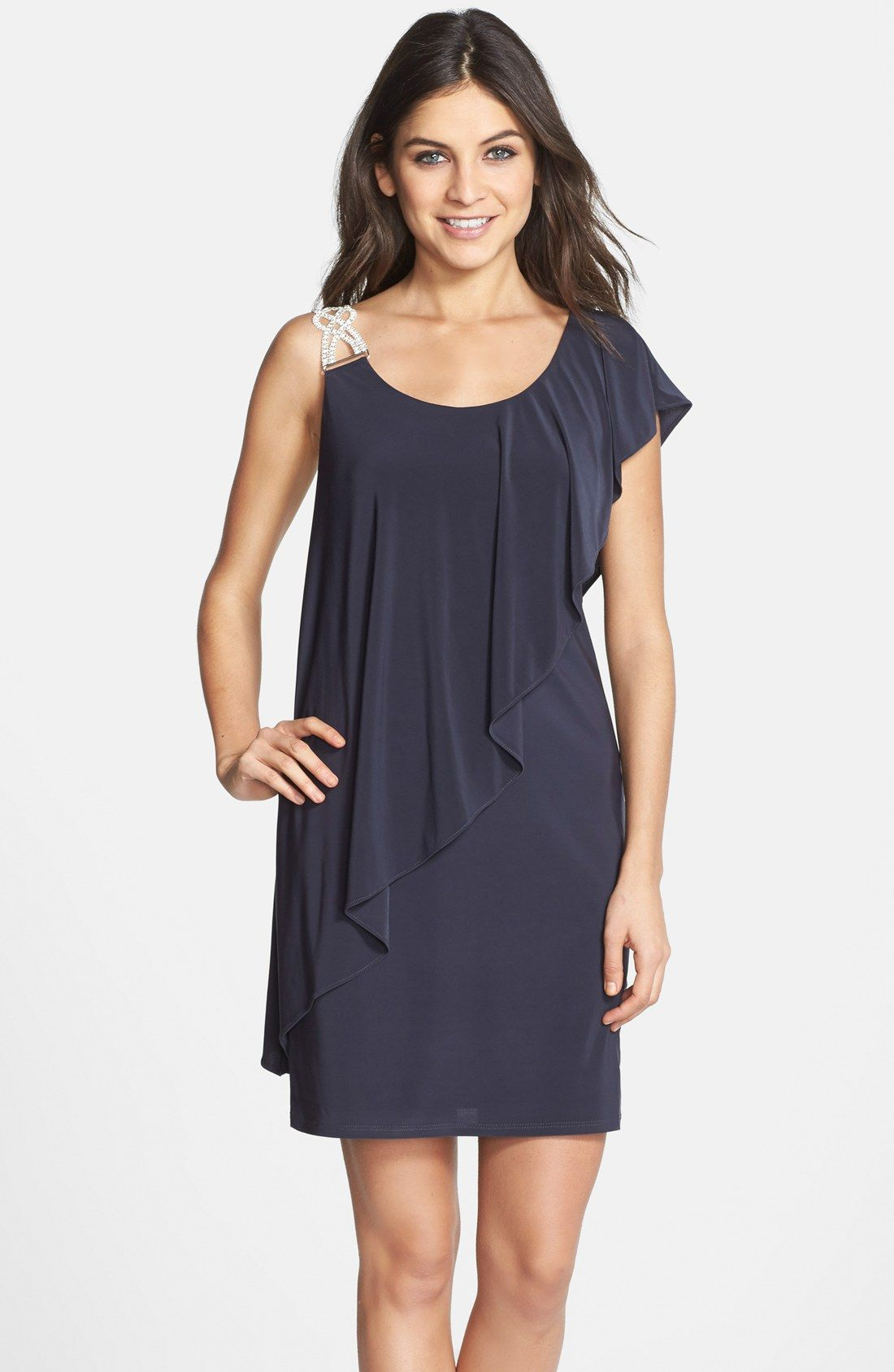 Betsy & Adam Embellished One-Shoulder Popover Dress | Vestidos ...