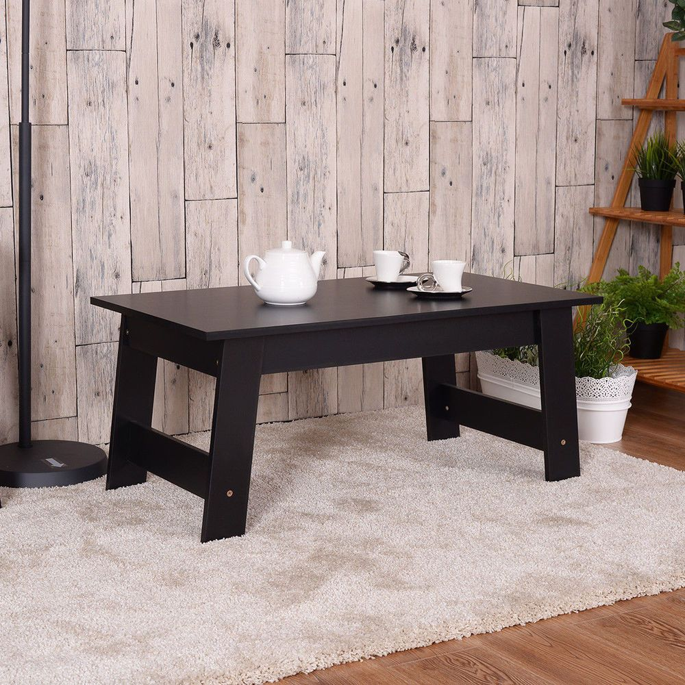 Modern black side end low wood coffee tea table living room sofa