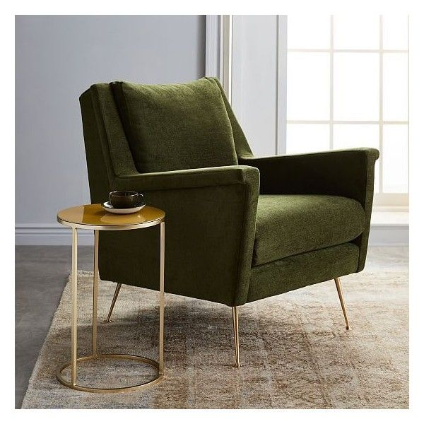 west elm carlo mid century chair worn velvet olive brass legs 4 045 cny liked on polyvore. Black Bedroom Furniture Sets. Home Design Ideas