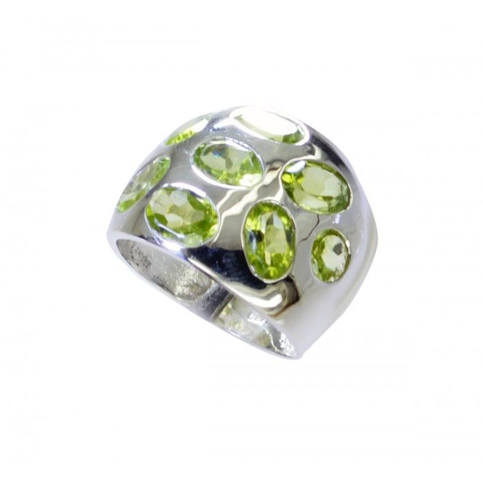 Riyo Kind-Hearted Peridot 925 Solid Sterling Silver Green Ring Srper75-58055