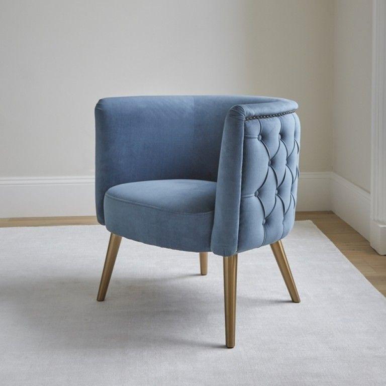 Condotti Chair Blue Velvet Brass Legs (With images) Blue
