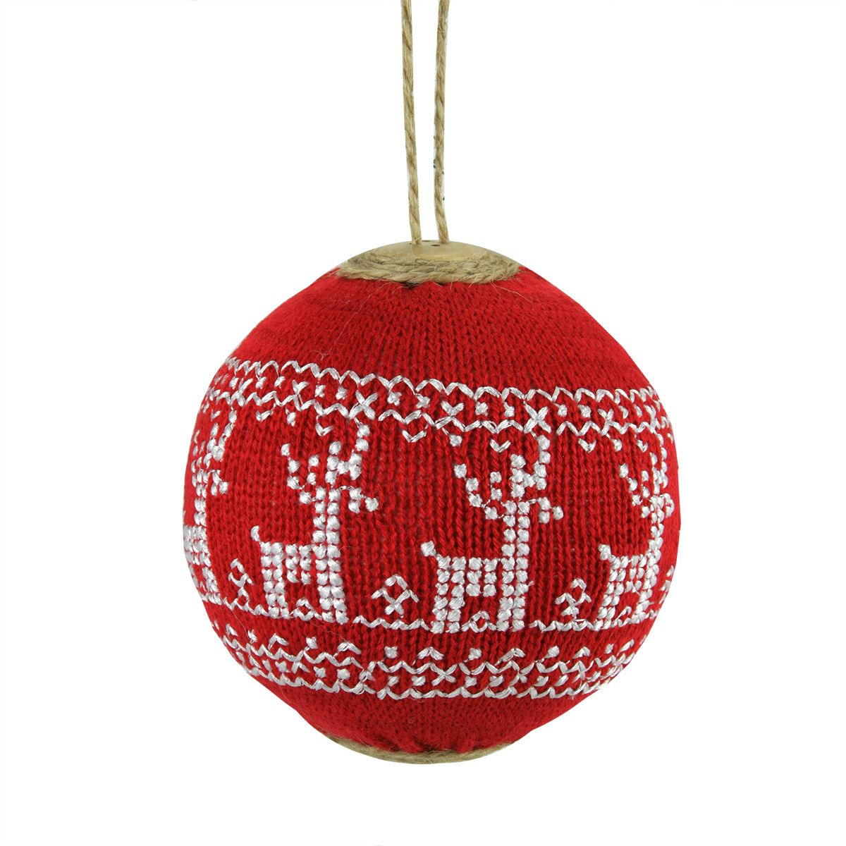 """Red and White Deer Nordic Design Christmas Ball Ornament 4"""" (100mm) 