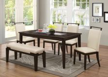 "Create a bold, yet classic look for your family to enjoy their dinner with this 6 Pcs dining room set. Made of manufactured wood with veneer finish, this dining set offers a room for 6 seating. The chairs and bench are upholstered in a cream finish in faux leather and the table is 64"" long with a center smoked glass top"