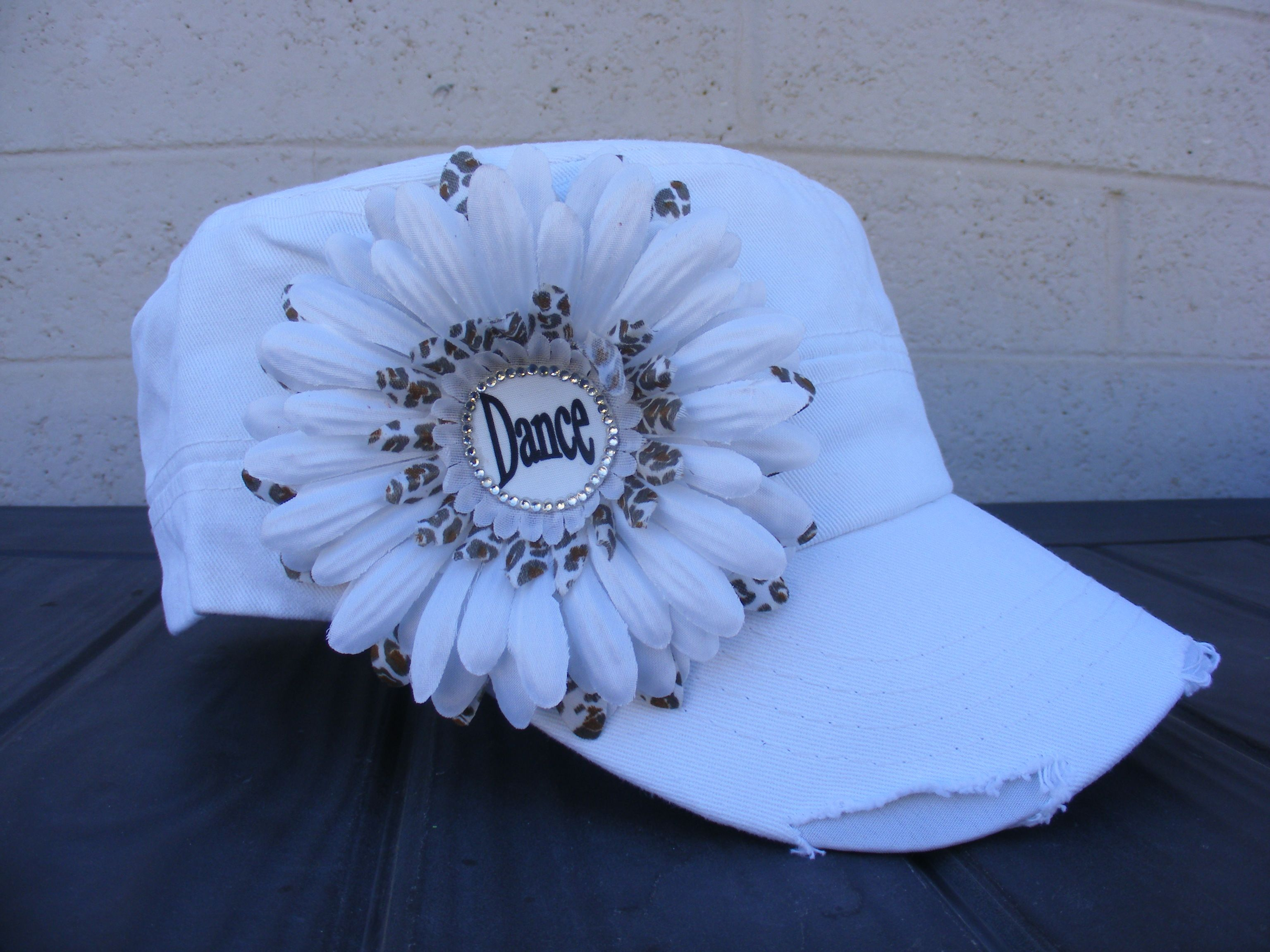 White dance mom cadet hat with silk white and leopard flowers this hat has a distressed look with rhinestone crystals really stands out! Check it out on Capsbykari.etsy.com