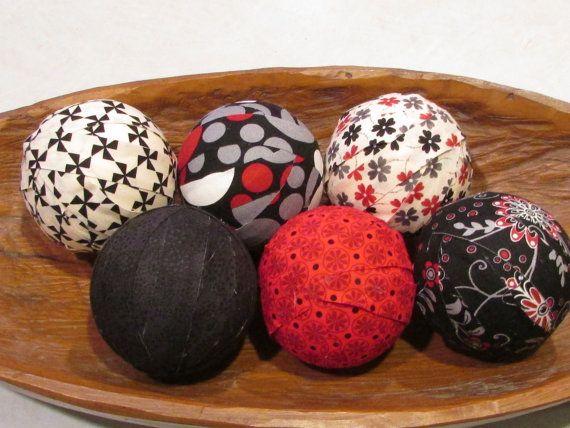 Decorative Fabric Rag Balls Fabric Chotchkies Fabric Balls Rag Balls Bowl Fillers Set Of Six 3 Inch Balls In Black Wh Fabric Decor Fabric Balls Bowl Fillers