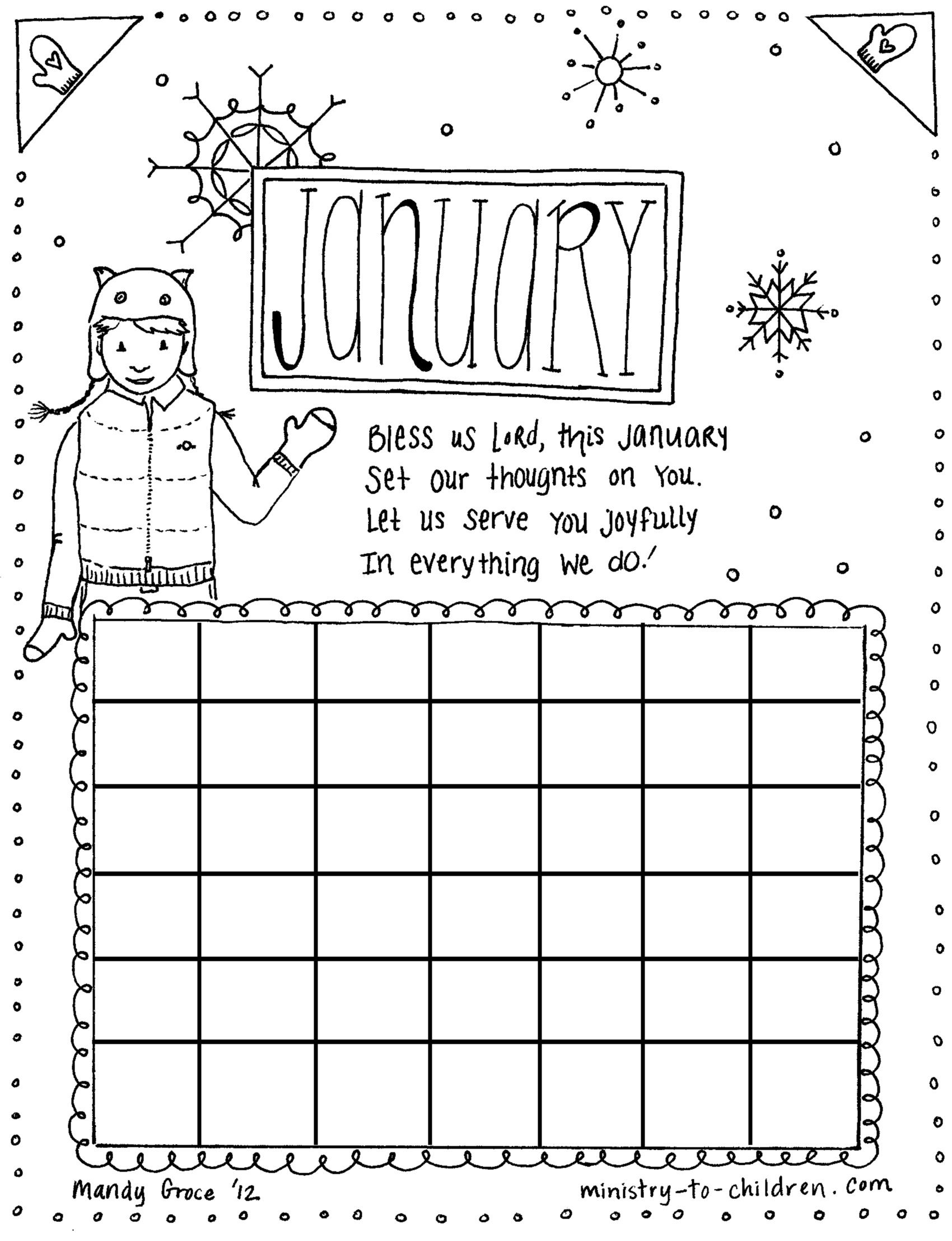 January Coloring Pages | Seasons Coloring Pages | Preschool