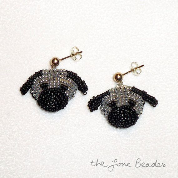 Beaded GRAY PUG sterling silver post earrings by thelonebeader, $95.00