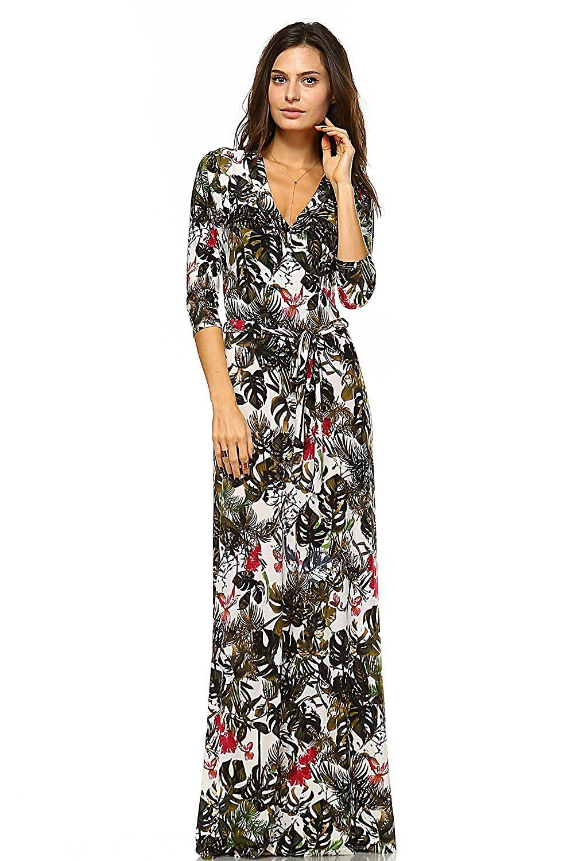 Vivicastle Women 39 S Printed V Neck 3 X2f 4 Sleeve Wrap Waist Tie Long Maxi Dress Long Sleeve Floral Maxi Dress Long Sleeve Maxi Dress Womens Maxi Dresses [ 1500 x 1000 Pixel ]