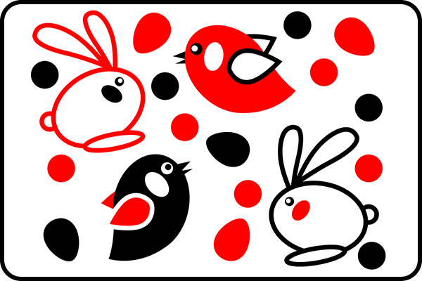 Black Red White Baby Birds And Rabbits For Baby Visual
