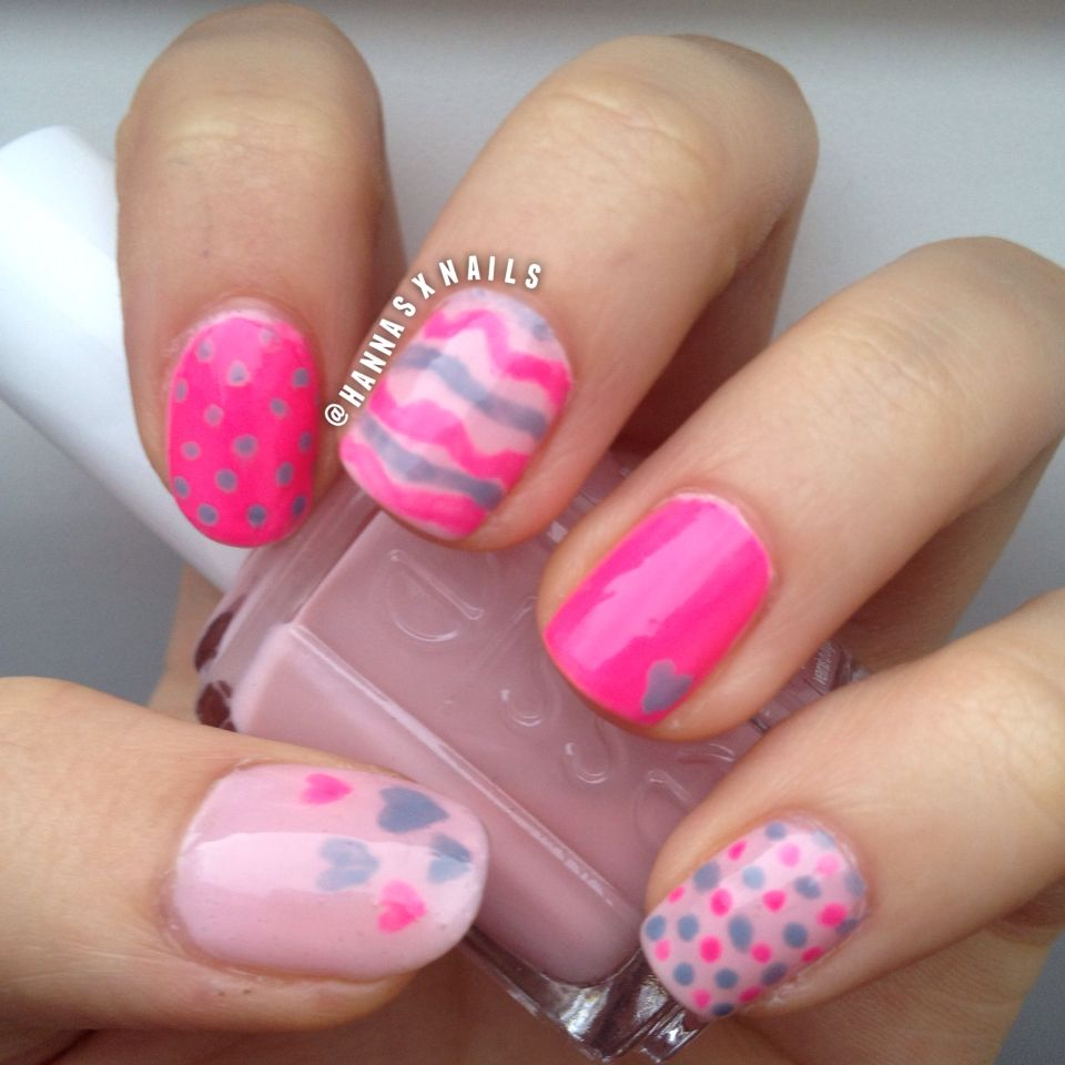 cute pink mix & match nails I handpainted essie (spaghetti strap ...
