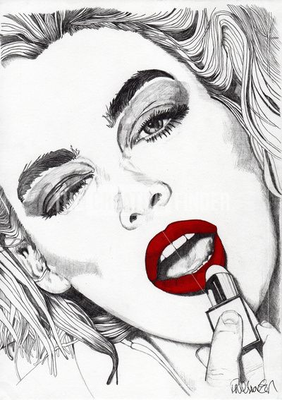 Red Lipstick Girl Art Pencil Illustration Drawings