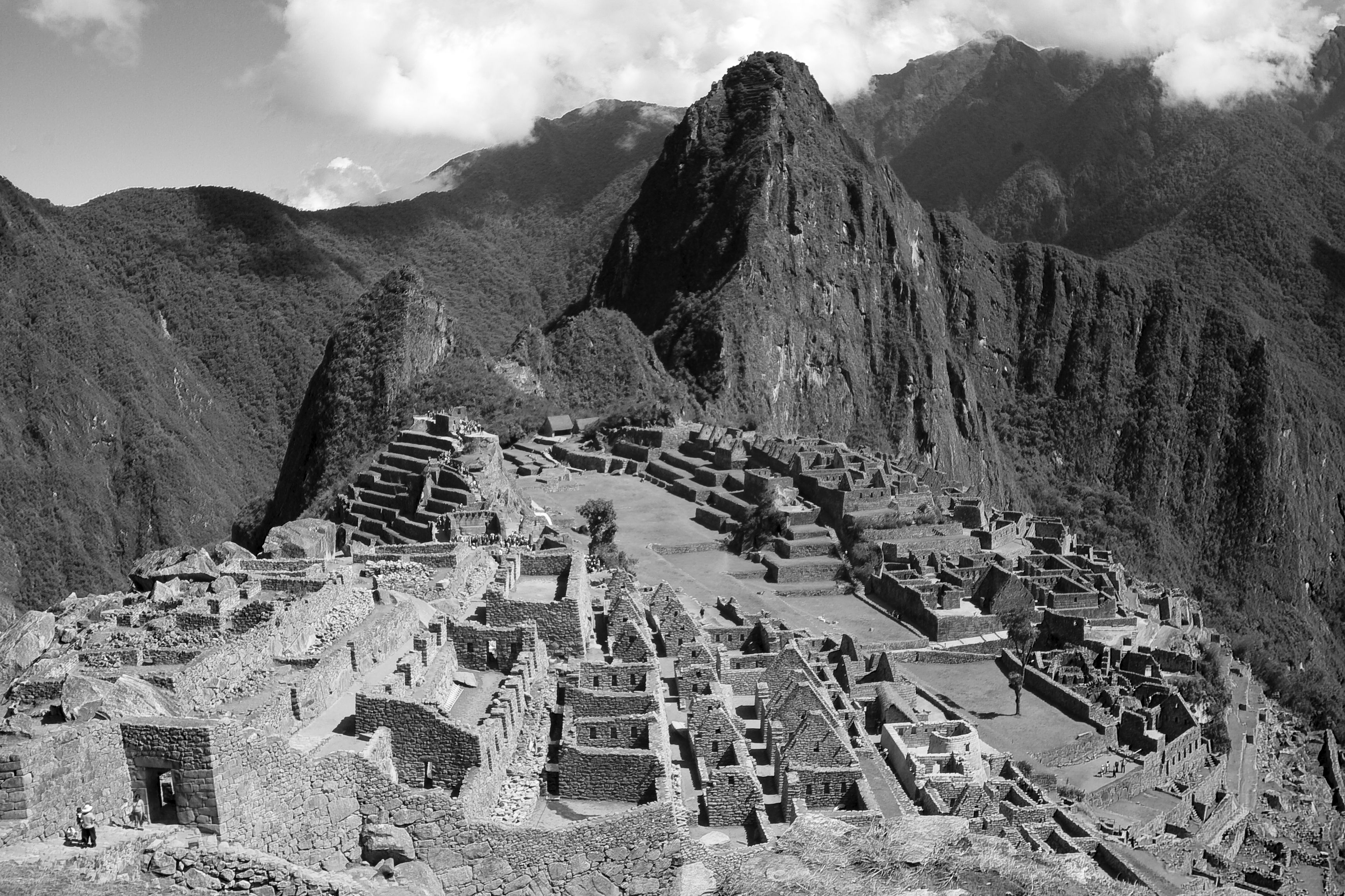 black and white machu picchu