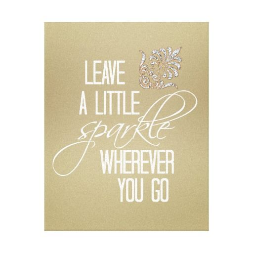 Leave a little Sparkle with Gold and Diamond Canvas Print | Canvases ...