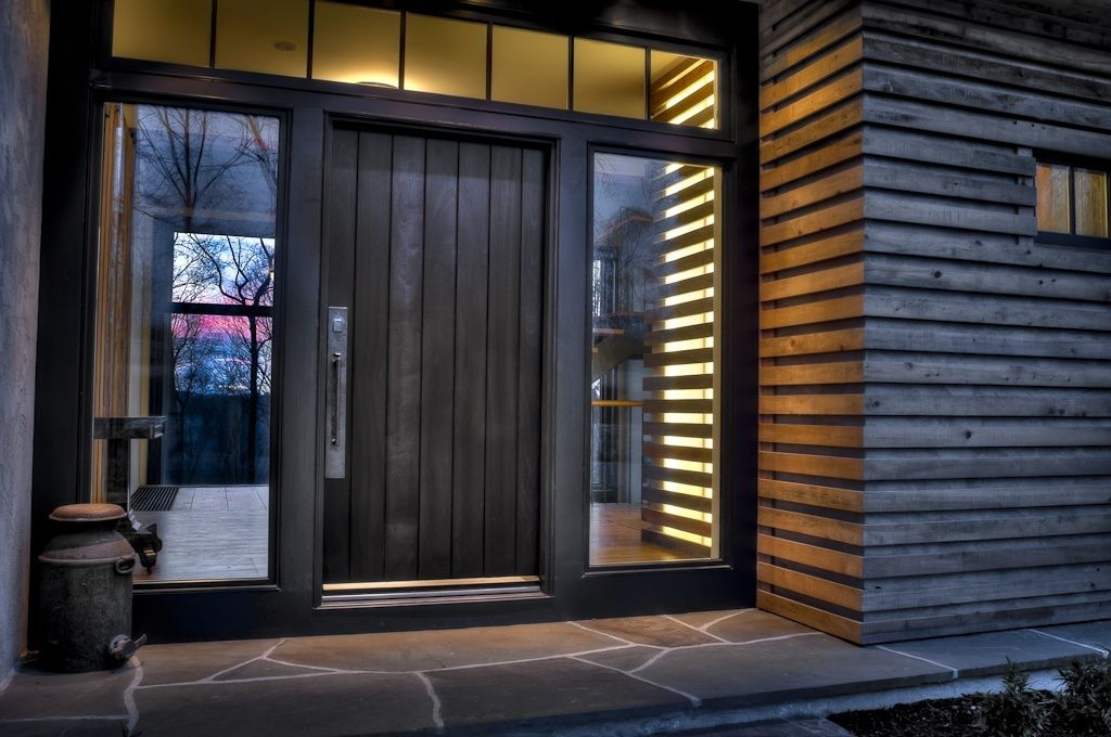Contemporary Front Door with Pathway exterior stone floors Transom window & Contemporary Front Door with Pathway exterior stone floors ... pezcame.com