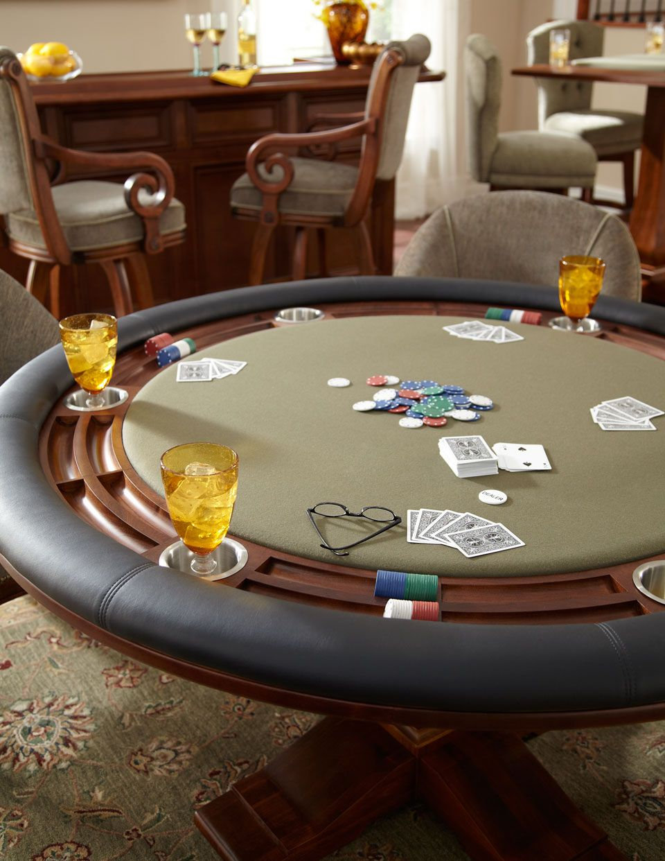 California House Professional Texas Hold Em Detail Shot Game Room Tables Game Room Custom Poker Tables