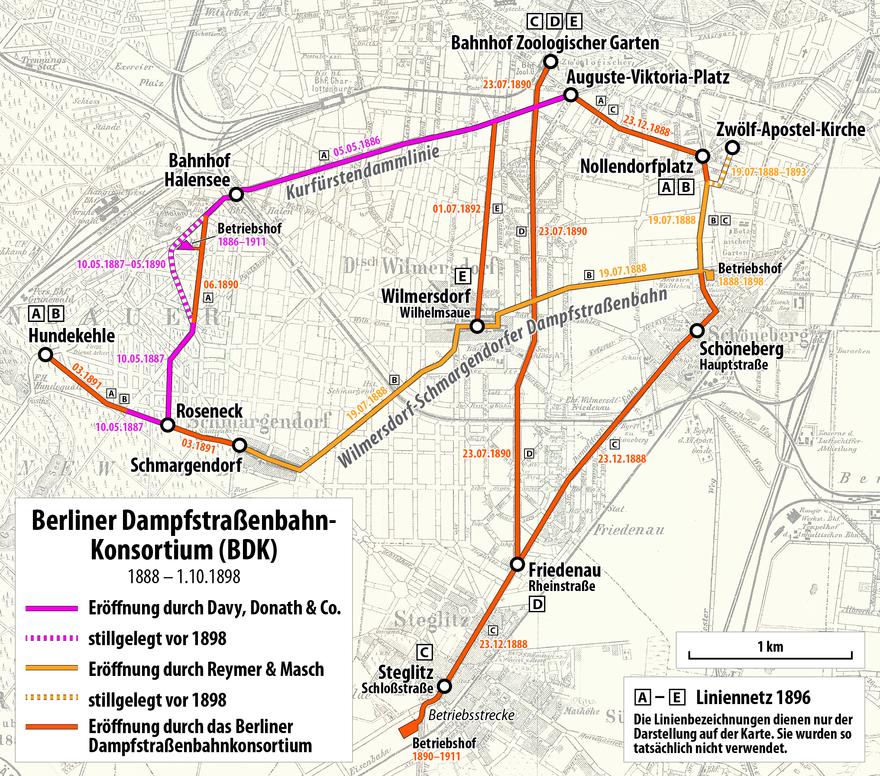 Strecken Und Liniennetz Des Berliner Dampfstrassenbahn Konsortiums Und Seiner Vorgaenger 1886 1898 Berlin Strassenbahn Strassenbahn S Bahn